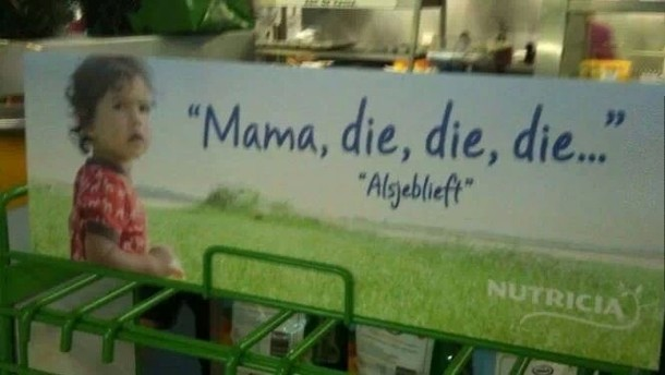 Dutch advertisement Gone wrong. .. someone put reaper's head over him