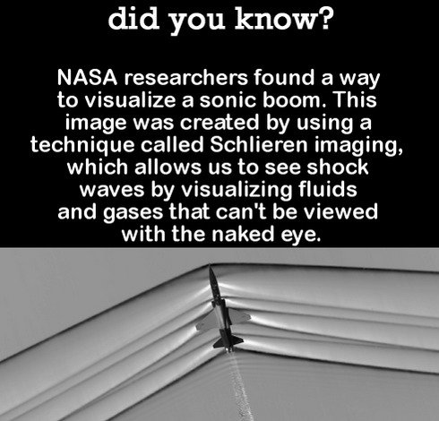 DYK Comp #94. . did you know? NASA researchers found a way to visualize a sonic boom. This image was created by using a technique called Schlimmer imaging, whic