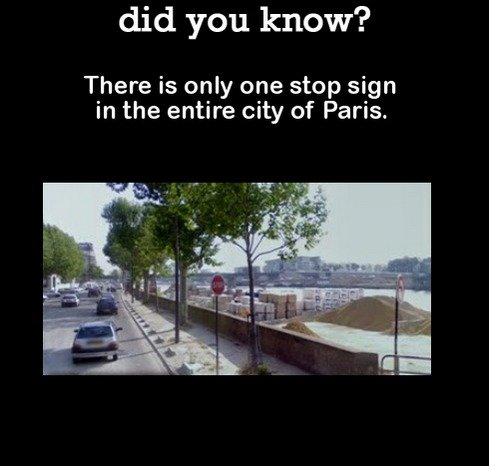 DYK Comp #99. . did you know? There is only one stop sign in the entire city of Paris.. Am I the only person who knows that those people only wrote nice things for their own ego?