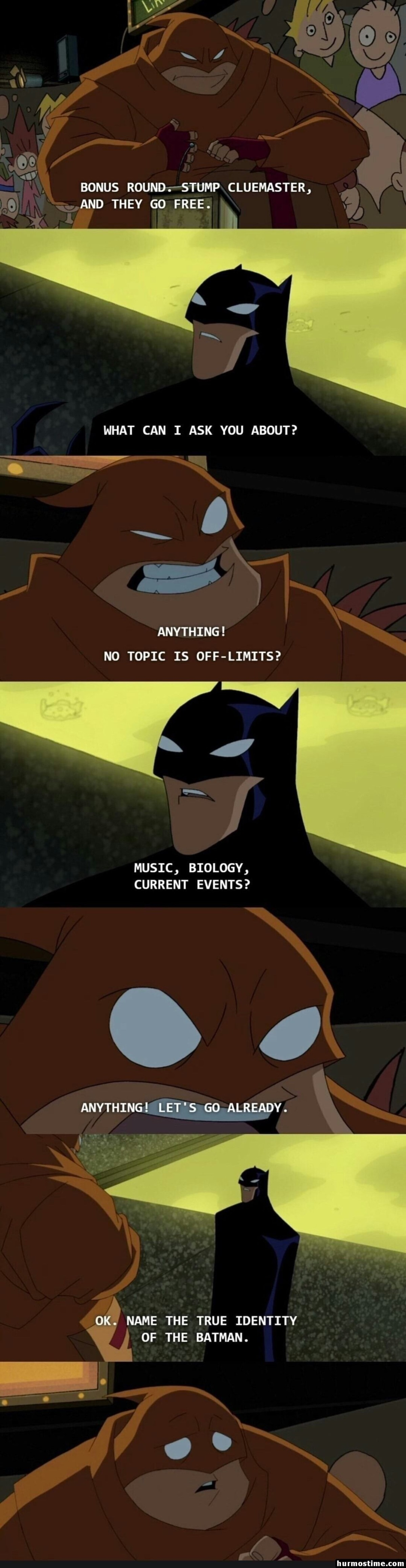 """dysfunctional petite Lyrebird. .. """"The batman's true identity and is the batman"""" Don't even need to know Bruce thinks of himself as """"batman"""" to answer that Because batman IS"""