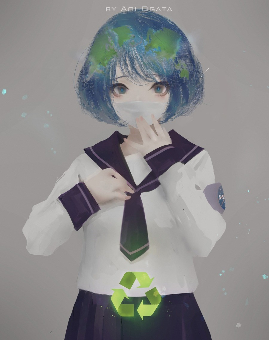 Earth Chan. Link to the author https://www.artstation.com/artwork/gDYDm.. There's an Earth-Chan channel you can post this to https://funnyjunk.com/channel/Earth-chan
