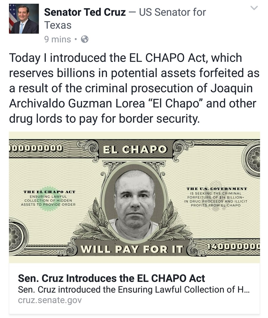 EL CHAPO ACT. Update: Actual bill stickied in comments. That about sums up my views on the whole issue, but Mexican drug cartels, immigration, and things tied t