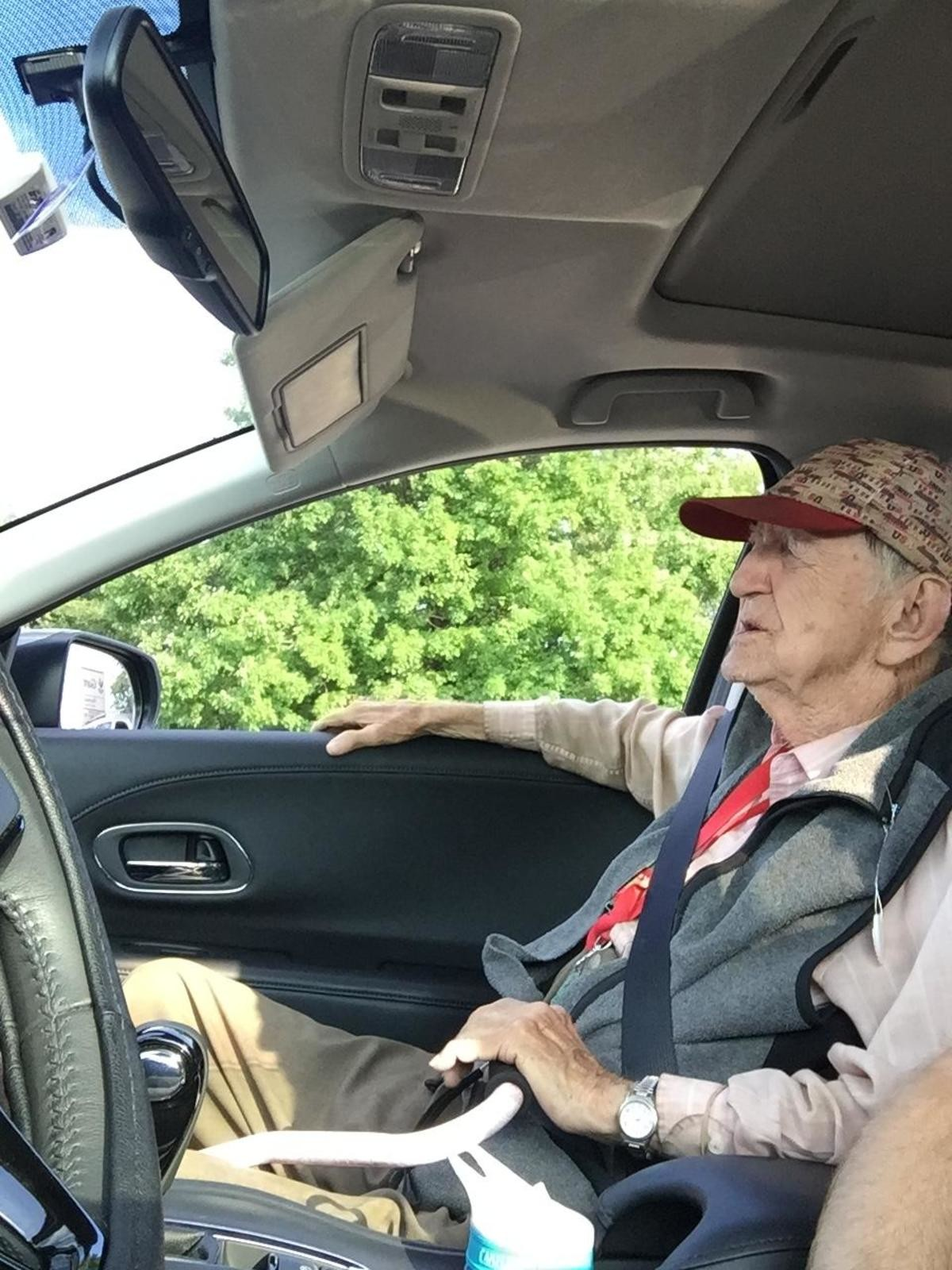 Elder man catches a ride. His neighbor is apparently a really nice guy but lives alone so he took him out for a nice drive with burgers. Maybe not the single mo