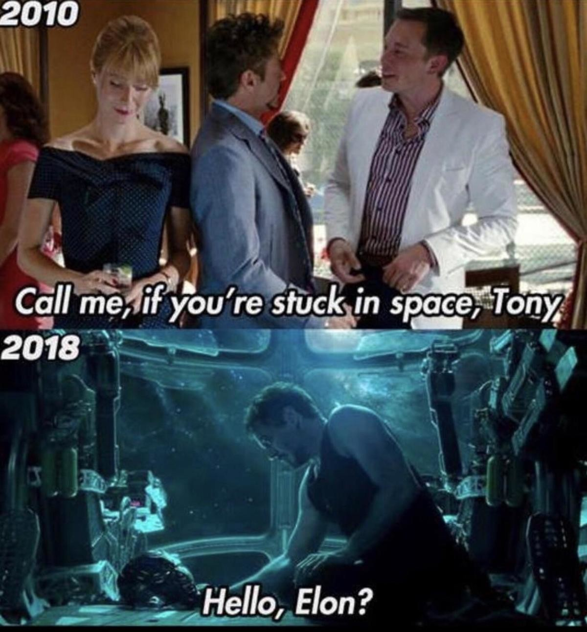 Elon Musk in Endgame!?. .. Tony: It's getting a bit musky in here Elon bursts into the spaceship Elon: Hello There Tony: General Kenobi THE END