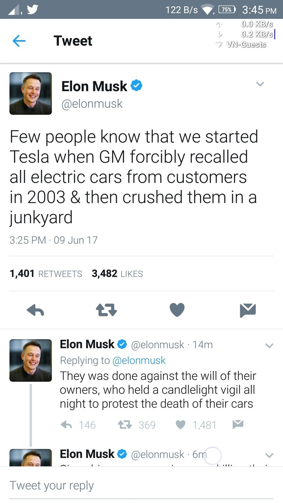 Elon Musk on how Tesla came into being. . iua 4- Tweet pr Elon Musk 9 NP' people linc) that i/ l/ ti? started Tesla vi/ hen Ci) lnv/ l forcibly recalled all ele