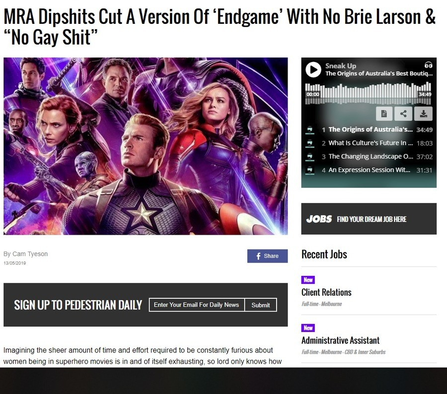 Endgame with no gay . .. whats sad is I can't tell if this is meant to be a jab at Marvels recent practices or if this guy just really has his head planted that firmly in his own ass li