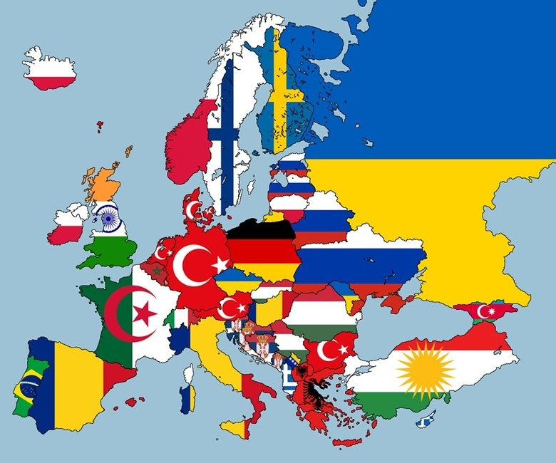 Europe by 2nd highest nationalities. Each country has the flag of the 2nd highest nationality within their nation.. Poland is filled with Germans? Goddammit did you guys invade them again?