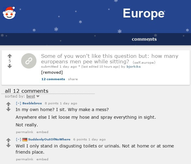 european men, kill yourselves. . Europe Some of ) Ll wasn' t like this (question but: new many eailer: Icans men pee while sitting? (/.) submitted t day egg 5 (