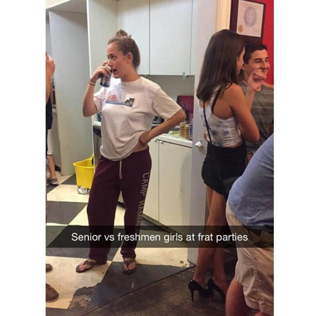 evasive noiseless Mink. . Senior vs freshmen girls at frat parties. Man, girls in lazy outfits..