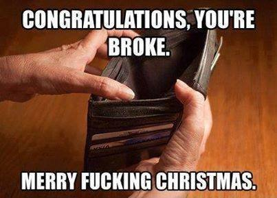 """Fa la-la la la. Sorry if this is on the front page by tomorrow, and its not my post. Its not there now, and i JUST found it on facebook. BROKE i"""") MERRY .. ll. I was broke from the beginning of December and had to sell to be able to buy some christmas presents...well...at the very least it´ll go upwards in January. Uni"""