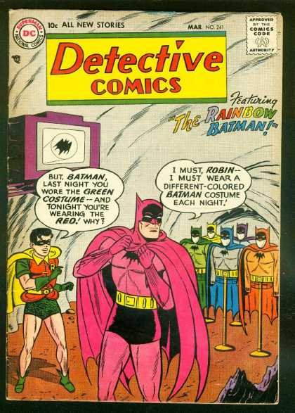 """fabulous batman. you have to give it to batman. he still looks manly in pink.. LAST NIGHT """"VDU WERE THE UNCEN 7. ili AND 1' nnm. ant 'mutas I MUST. KEEN-. Batman doesn't take fashion advice from anyone, let alone someone who wears green chain-mail briefs."""