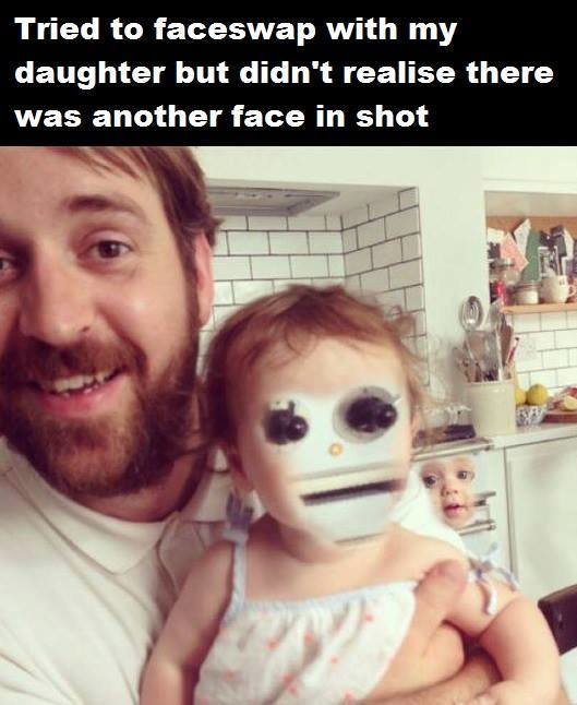 FACESWAP. . Tried to faceswap with my daughter but didn' t realise there was another face in shot. synths are hiding everywhere.