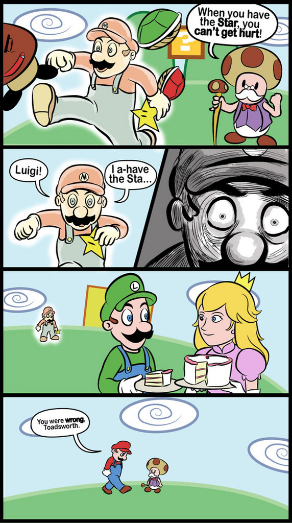 Failed Star. I guess puts on glasses couldnt have his cake and eat it too... Look at them, eating a lie. Poor mario