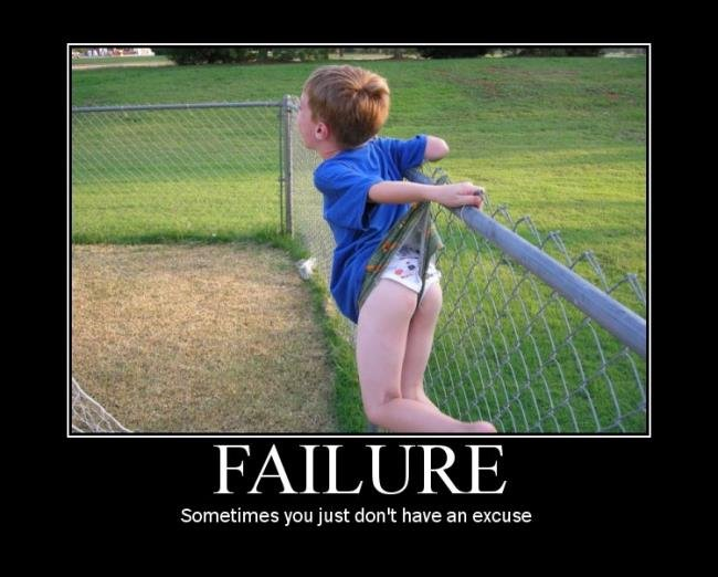 failure. . Sometimes you just don' t have an excuse. yeah, let's take a picture while the kid is losing his eventual fatherhood.