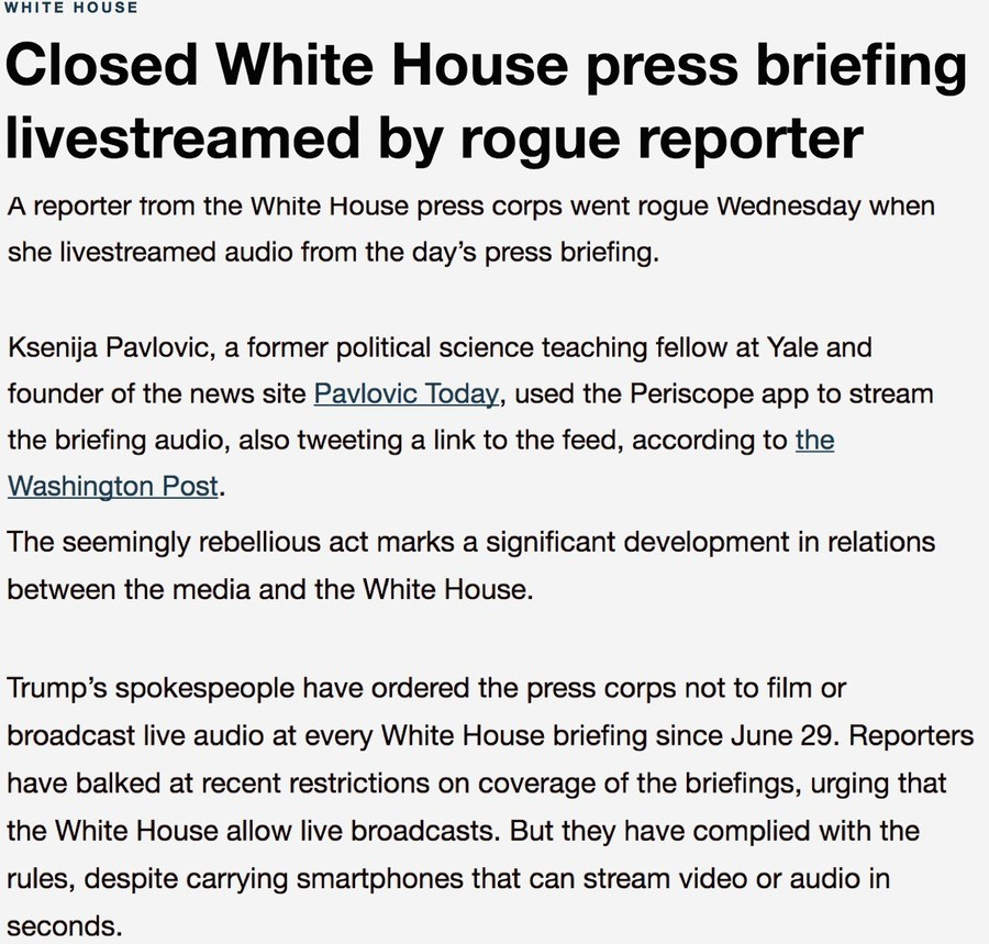 Fake News TREASON. A reporter for the FAKE NEWS openly defies Presidential orders not to broadcast White House Press briefings. 20 Years ago, we would've locked