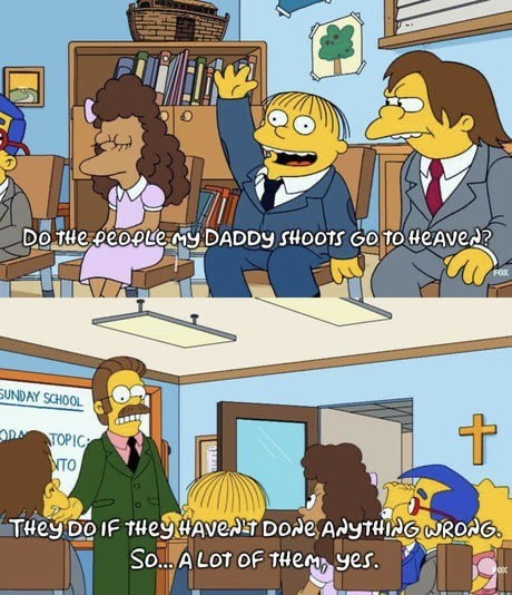 fantastic unwritten Parrot. .. I feel like this isn't political commentary but more of a joke on how inept Chief Wiggum is