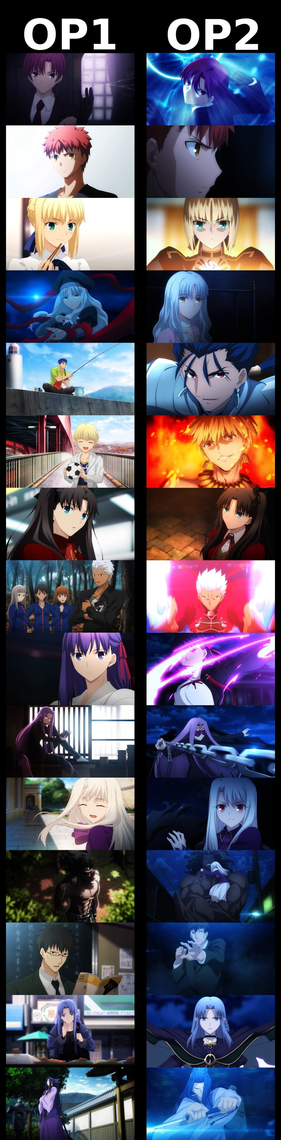 Fate/Hollow Ataraxia Character-focused shots between the two OP. .. I personally refuse to watch this till all the movies are out. I hate waiting a full year not knowing what's gonna happen next