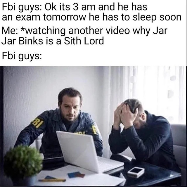 FBi. .. One theiry I saw about jar jar being sith is that there's a martial art where the moves are based on being drunk and goofy like jar jar is