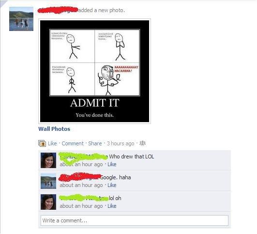 "Fcebook (1). 100% OC. Dumb bitches on FB.. a new photo, ttn Jil-. Wall Photos Like Comment Chere . 3 i. . 5 o 13 abcc? t' ili"" n hour ago . Like haha about an h"
