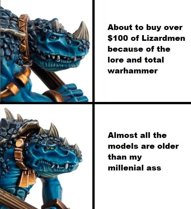 Feels bad skink. .. >Buy over $100 worth of lizardmen So what is that, like two full Cohorts and a Bastiladon?