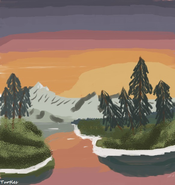 Finished another Bob Ross painting.. .. He'd be proud of you.