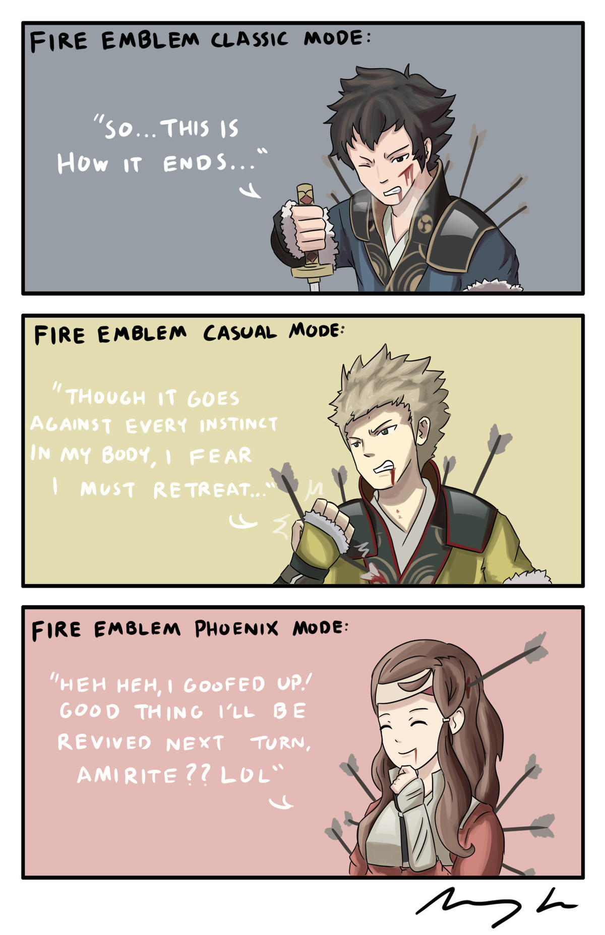 Fire Emblem Modes. .. Classic mode, but the player resets every chapter when a character dies