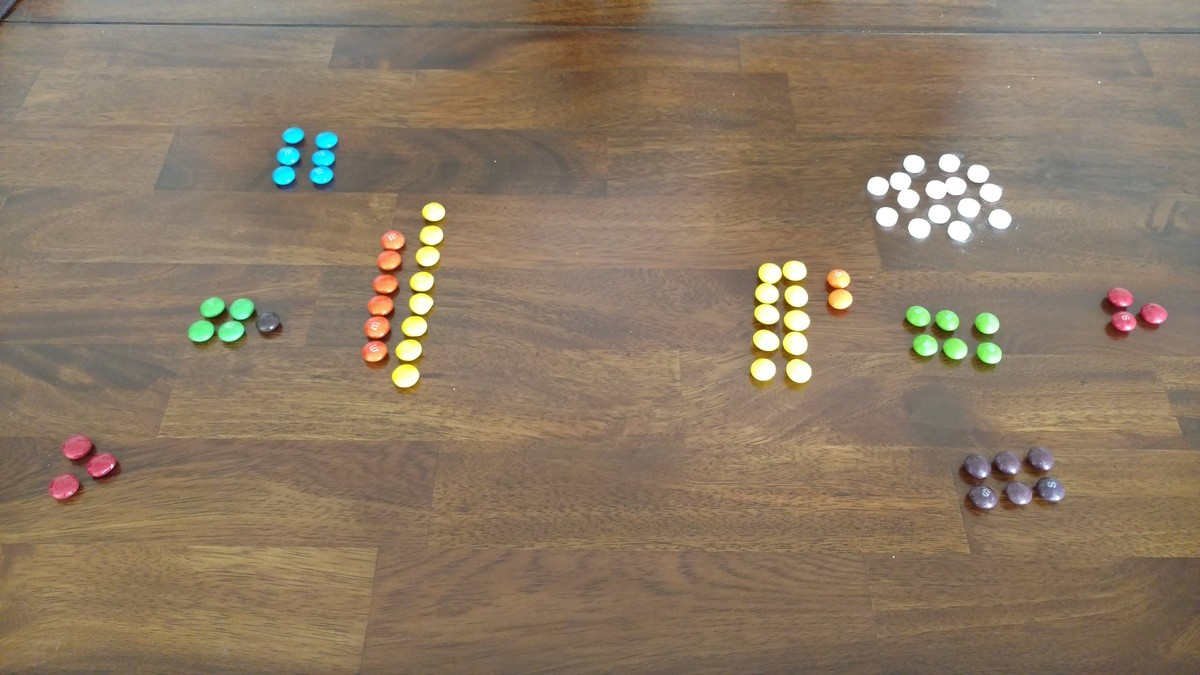 First battle. Ok it's time to go to war. Skittles vs M&M's. Here is the current situation: M&M's (left) are in full force, and on the defensive, their s