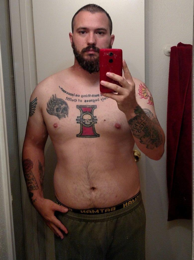 """FJ Fit with Fresighto, WEEK 2. My start 6/14/15 5'8"""" 210 age 25 fat AF BMI 31.9, Class 1 Obese Week one, 6/20/15 5'8"""" 202.6 (-7.4 lbs) Still fat AF BM"""