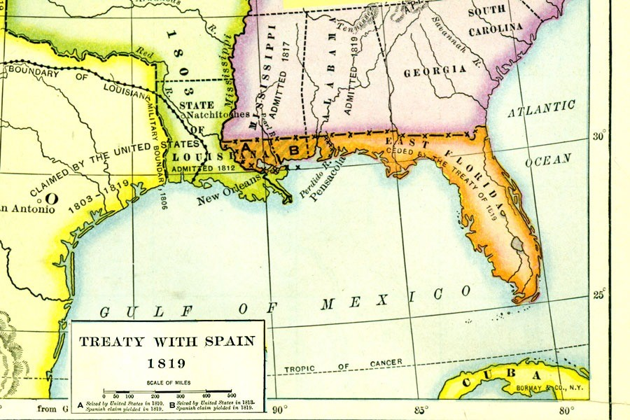 Florida at it's greatest extent. .. They REALLY didn't want Mississippi or Alabama to have a coast.