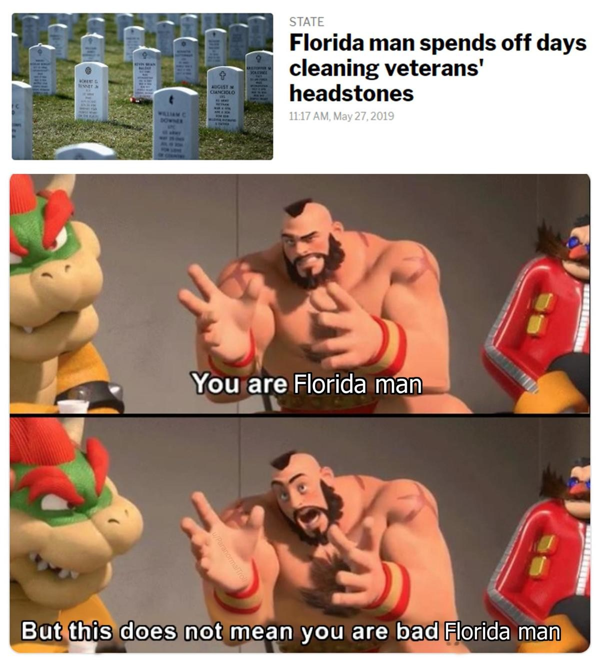 "Florida man. Next time that you go the cemetery, bring one more candle and light for someone who's grave hasn't been visited for a long time.. The joke kinda dies if you include ""bad"" in the second but not first panel. Either both or none my man."
