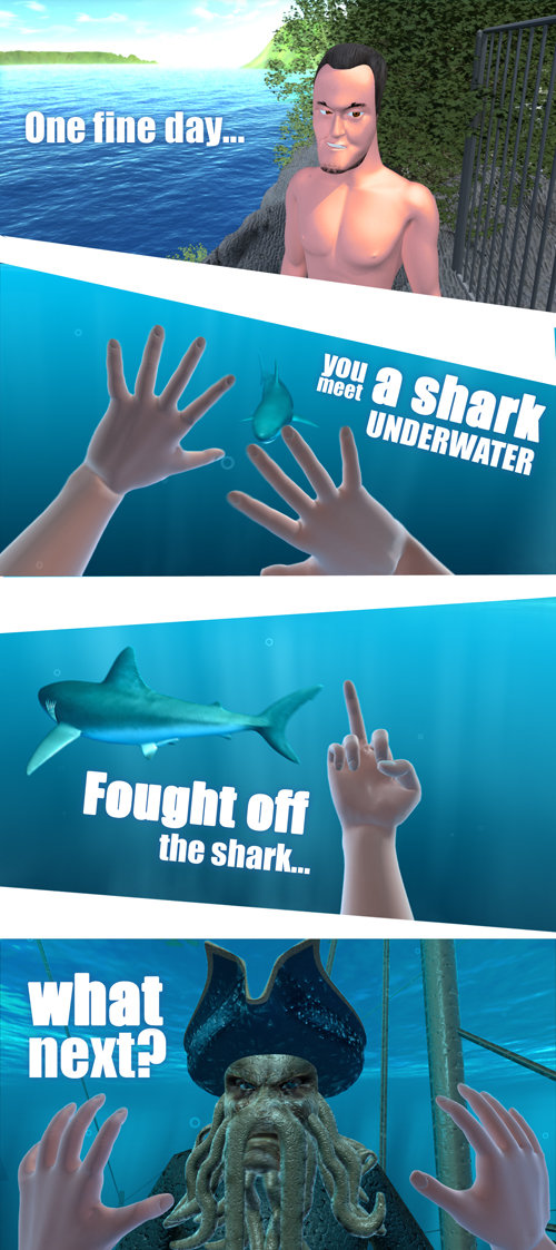 Fought off the shark - what next?. Parody on the famous viral video. Full video here: youtube.com/watch?v=_fJ1wvz1kUQ.