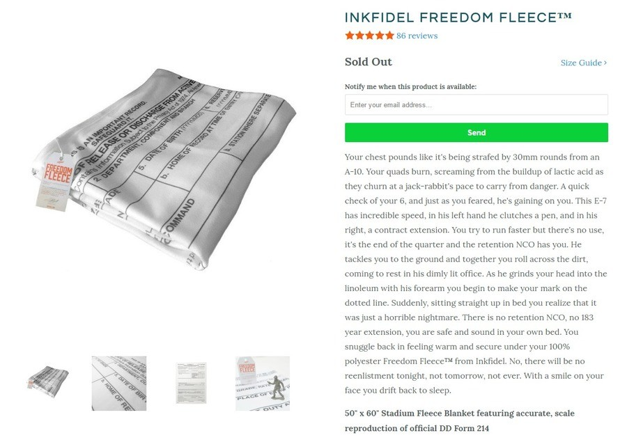 """Freedom Fleece. Read the story in the description of the item. The best part is that it's an actual product.. FREEDOM FLEECE'"""" 86 reviews Sold Out Size Guide y"""