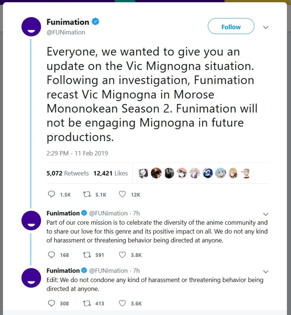 Funimation and Vic Migna. whichever side you believe, it is safe to say that his career is over.. So false allegations of rape are not considered a form of harassment? This timeline, mate........