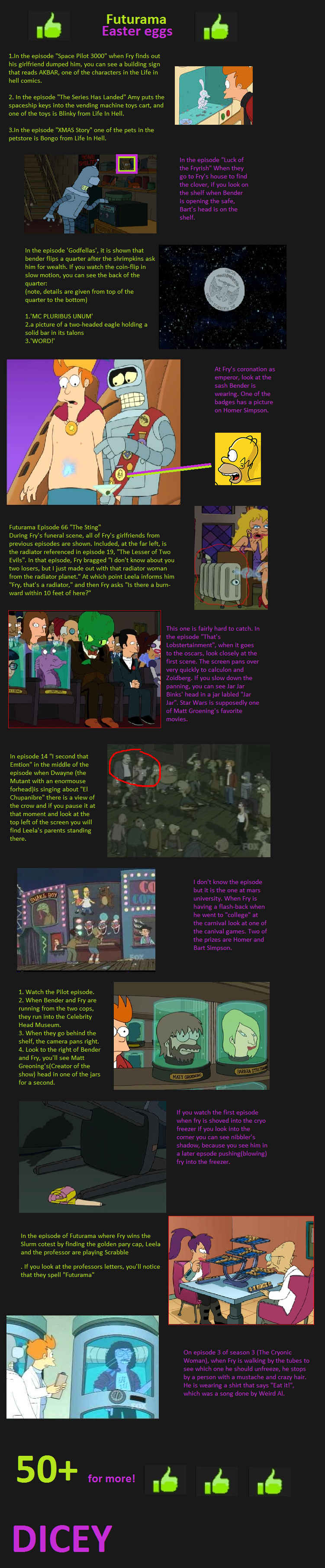Futurama Easter Eggs!. iv got loads more so 50+ and you get more<br /> .. That's funny. I saw an episode, I don't remember which one, bit it showed george lucas's head in the head museum.