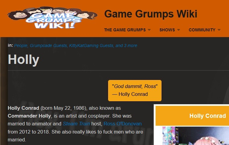 Game Grumps Wiki Entry. .. I still can't get over the fact he cheated on his wife with that... thing on the right... Not that him cheating his wife with a better looking girl would've mad