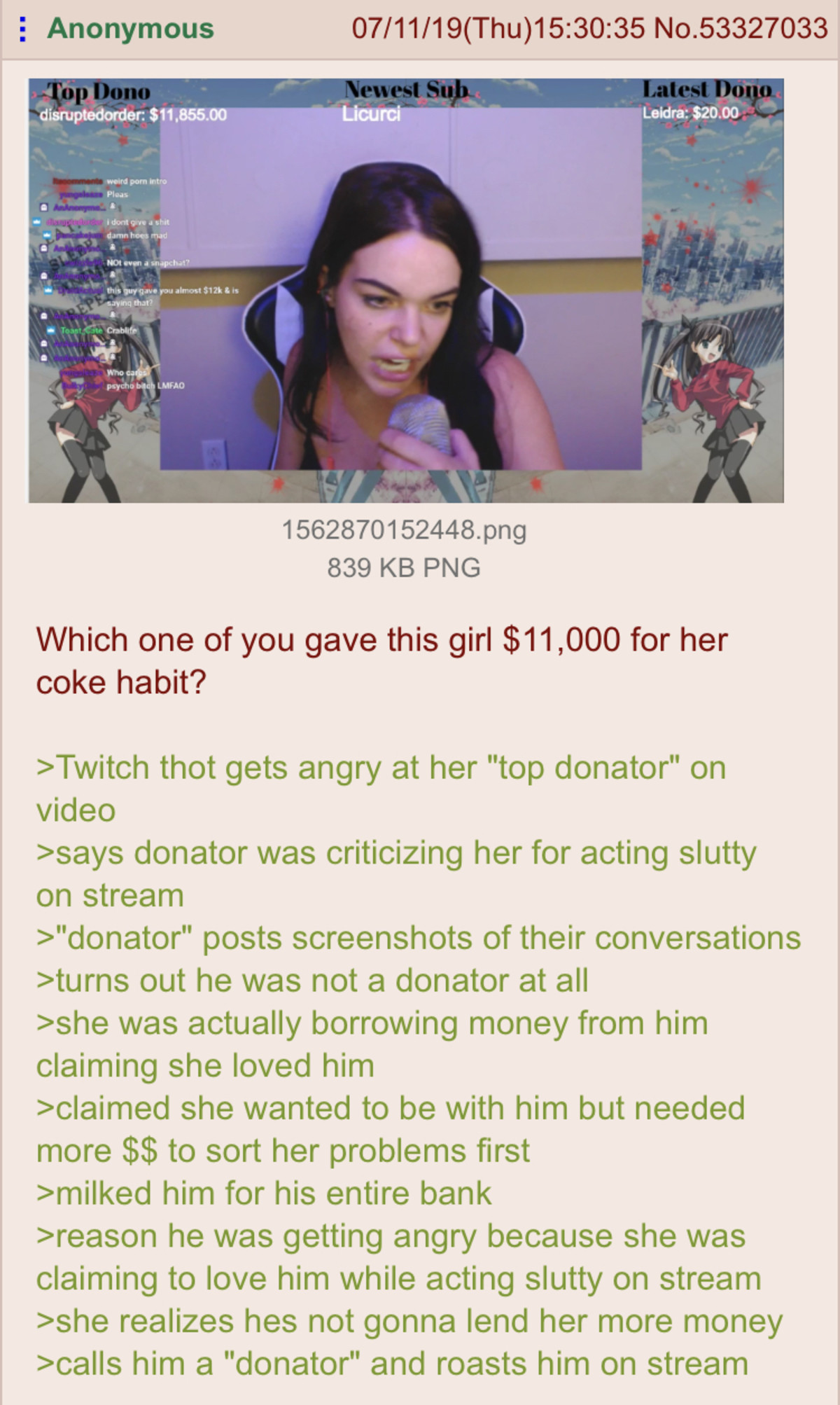 Gamer girl broke. .. He drained his bank account on her... retard. Yeah she is a bitch, but at some point you have to realize he let that happen.