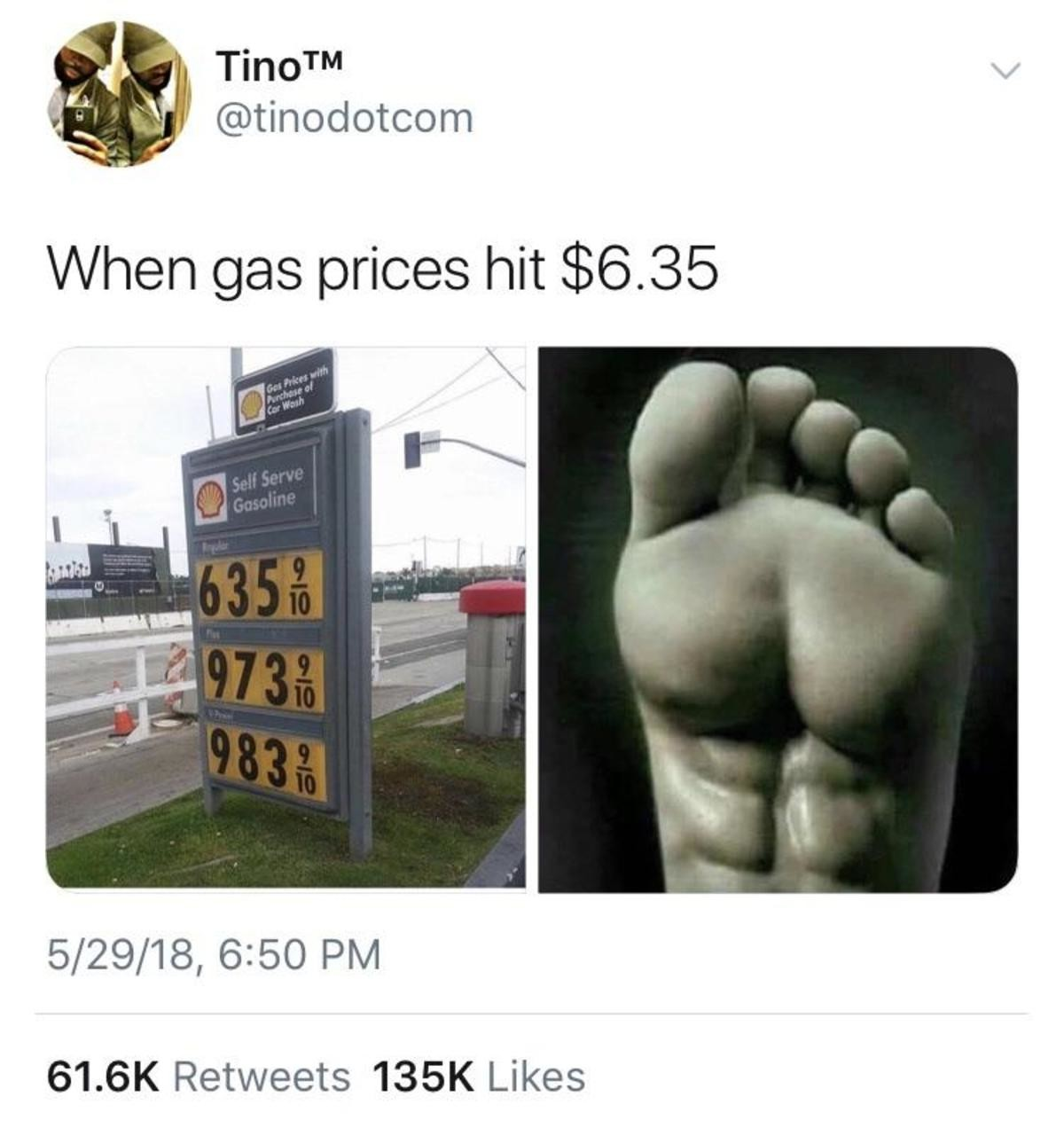 Gas prices. . N/ Inter) gas prices hit $( viii/ 61. Retweets Likes. Where the hell is it $6? That's doomsday level. Here in the Midwest it's sitting just under $3 and that's pushing it in my opinion