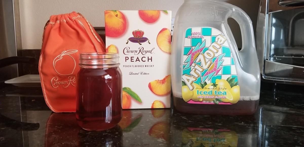 Georgia peach tea. Recipe says 1.5oz. peach whiskey to 6oz. tea and a slice of lemon. I did one finger and the rest Arizona lemon tea. Came out great. Glad Crow