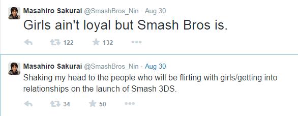 Get ready. . It Eal: arai @Smashbros_ Nin . Aug 30 Girls ain' t loyal but Smash Bros is. 122 132 It Eal: arai @Smashbros_ Nin . Aug 30 Shaking my head to the pe