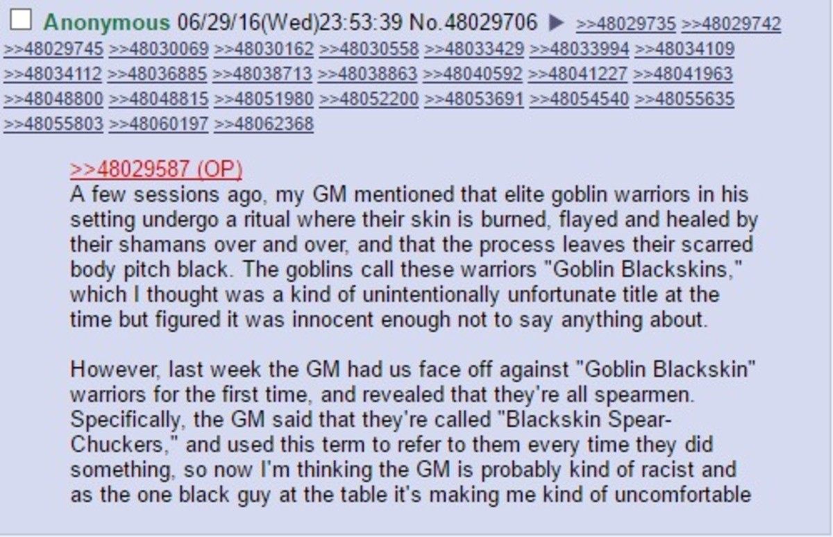 """Goblin lives matter. join list: Chanoholic (315 subs)Mention History.. >Goblins are stupid and thus unlikely to have complex naming systems >Goblins have black skin so they're called """"blackskins"""" >Goblins chuck s"""