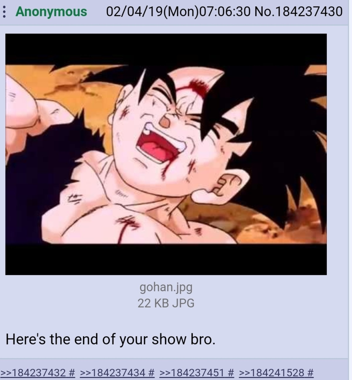 Gohan. .. It was supposed to end at the end of the Namek/Freeza arc. Going beyond the legendary super saiyan was dumb and power scaling got ridiculous after that point.