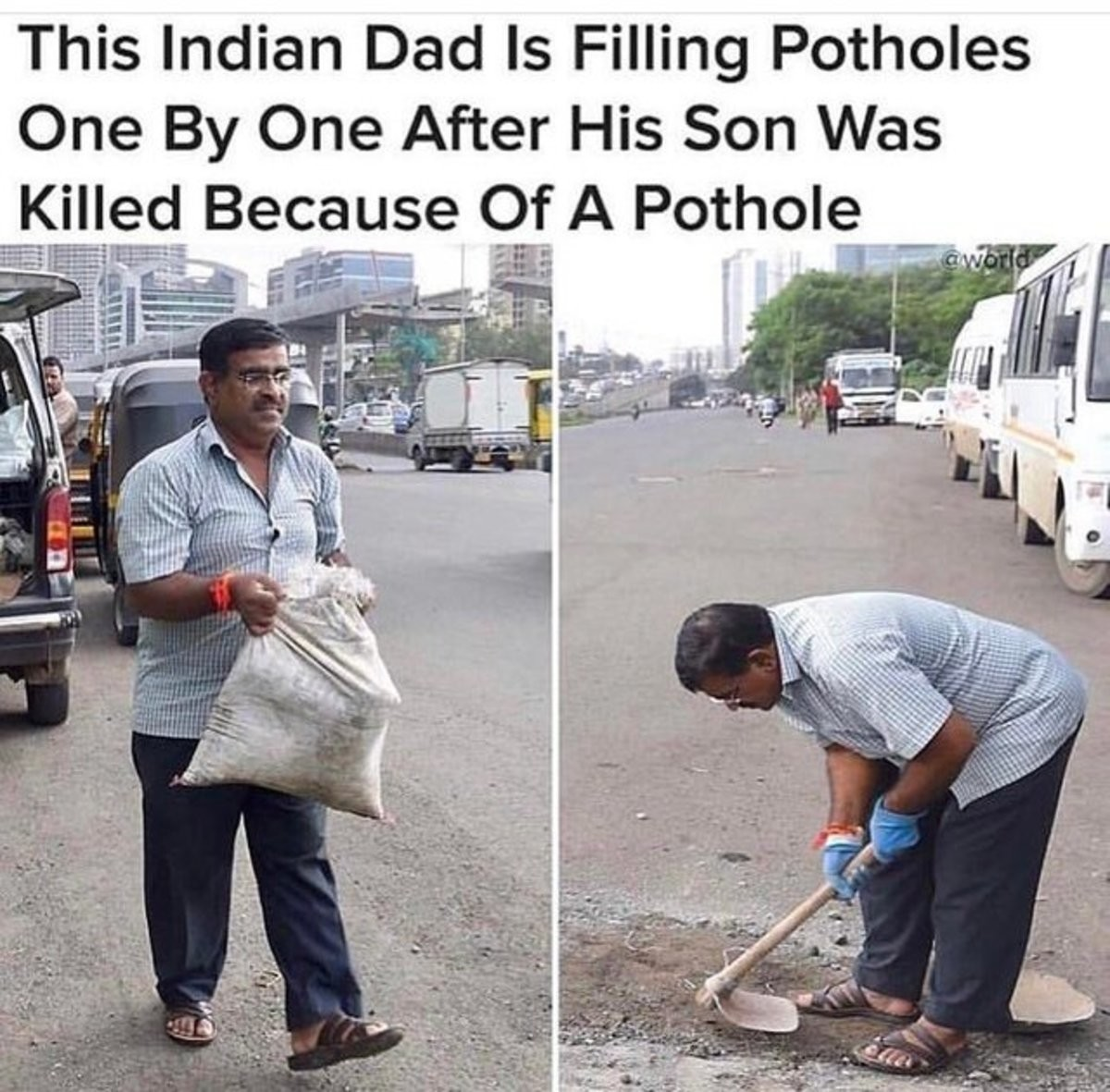 Good guy. .. >Pothole killed his son how