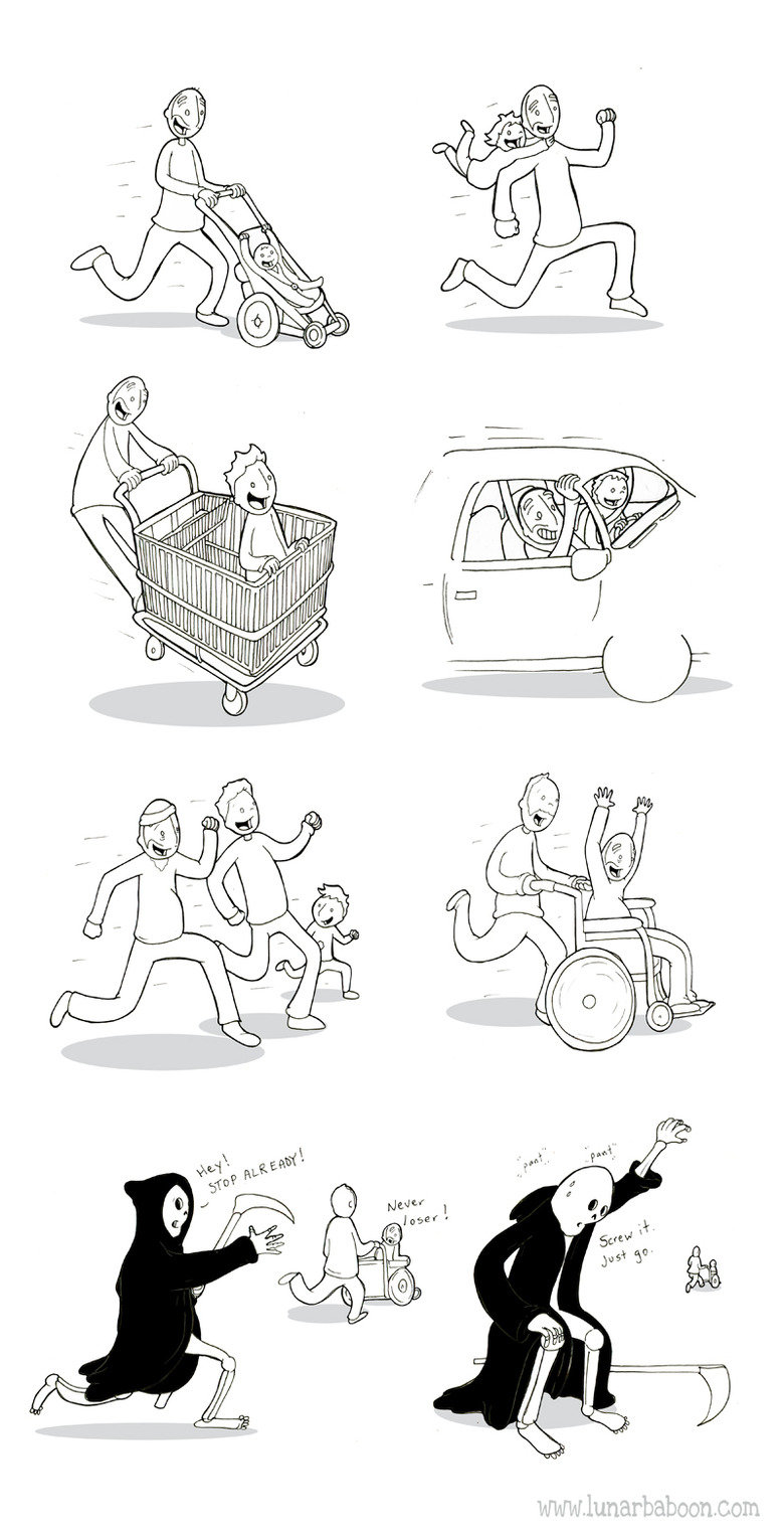 Gotta Go Fast. Source is http://www.lunarbaboon.com/ Check his comics out, they're awesome..