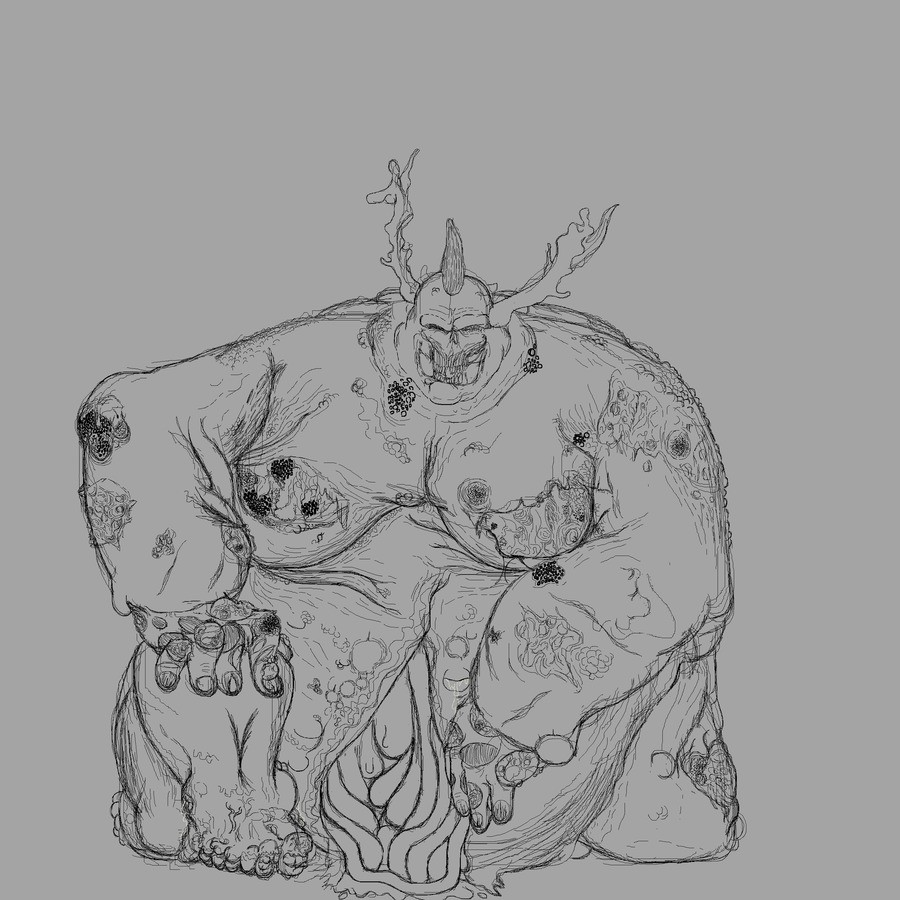 Great Unclean One, Greater Daemon of Nurgle.. Heres a drawing of a Great Unclean One, the Plague Father's pestilent, foetid, pusbloated, maggot infested, morbid