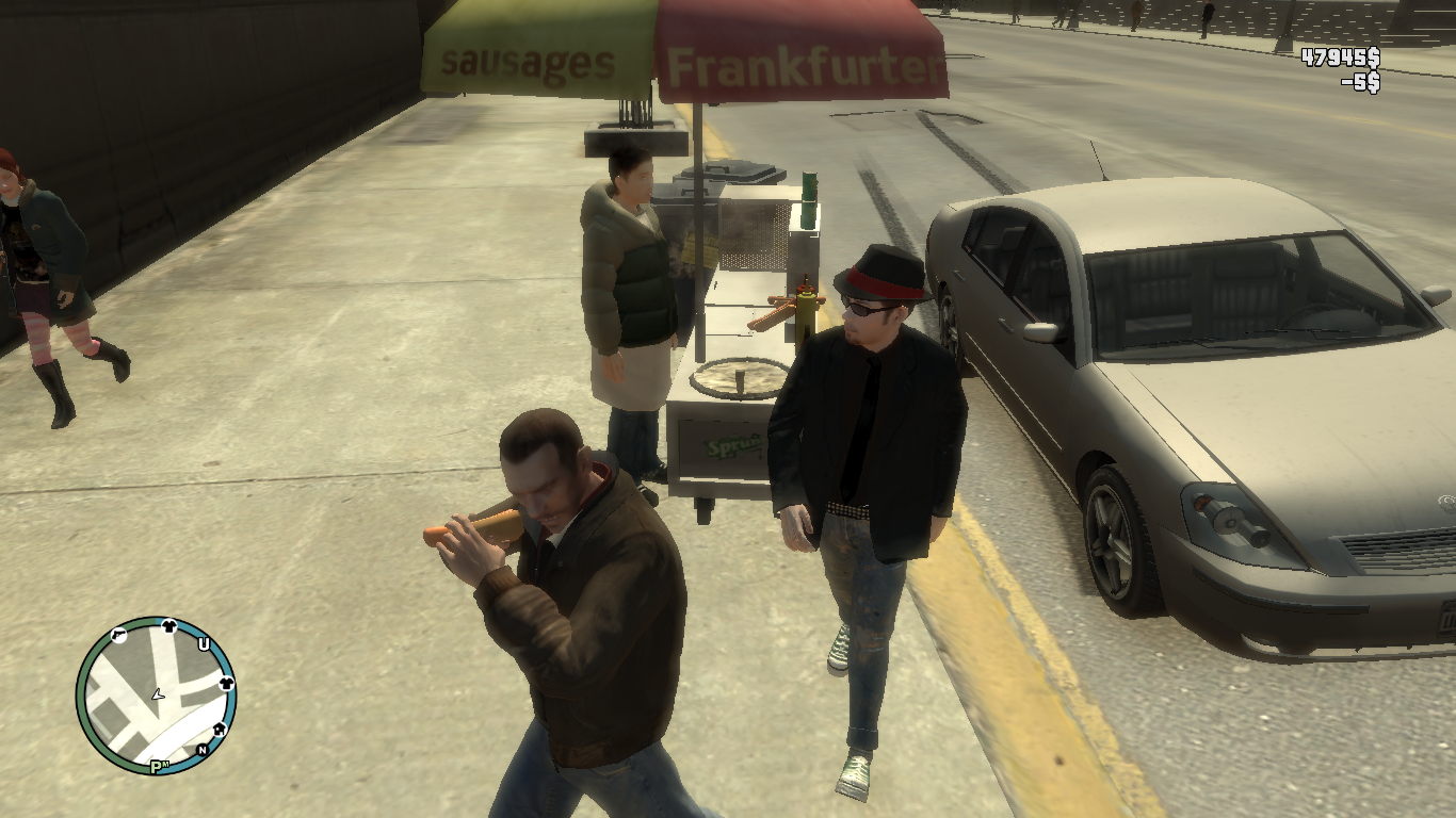 """GTA IV ladies. So I was playing GTA IV and in my way to buy a hot dog when this with the fedora right there goes """"can you give me something for my fat girl"""