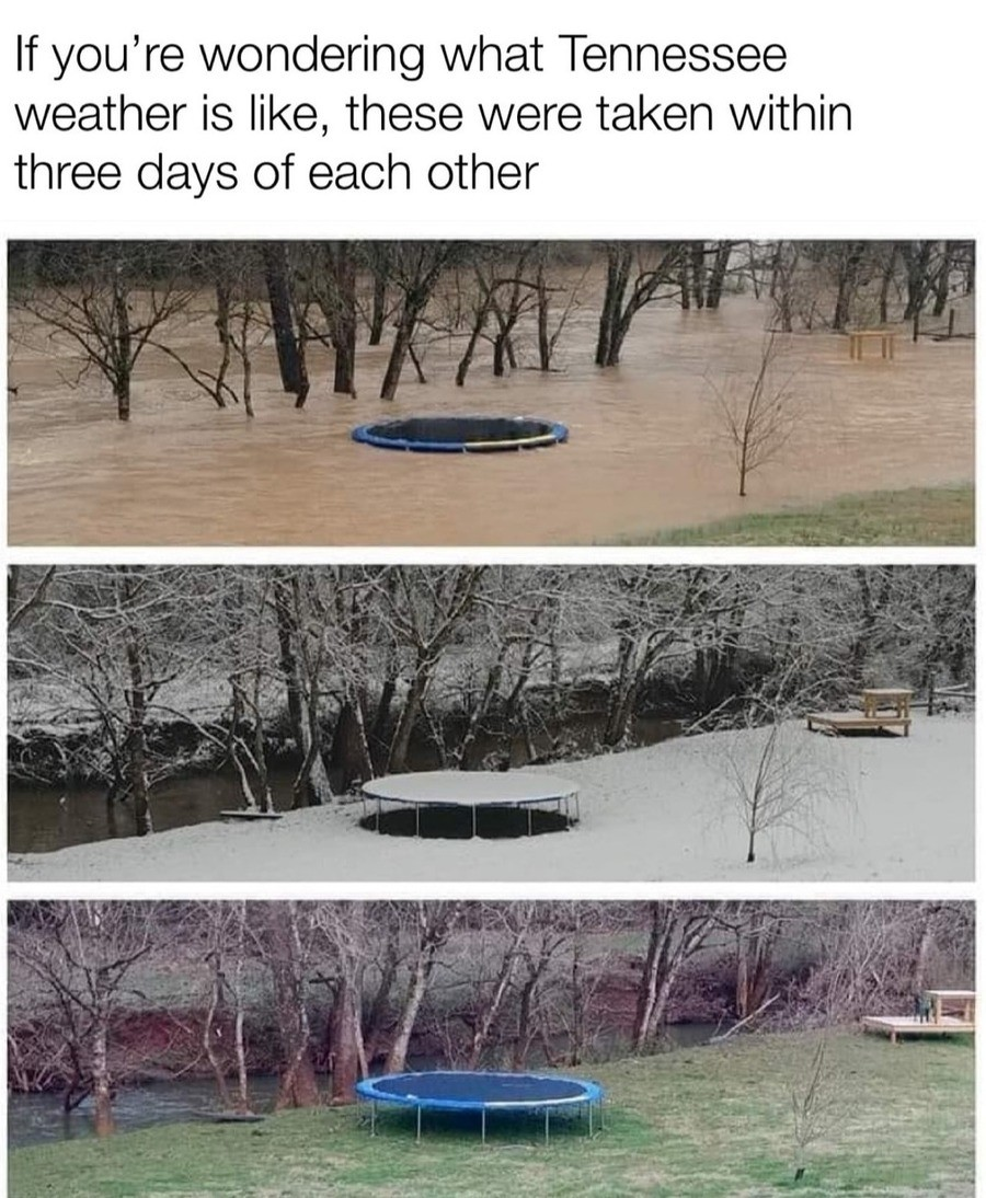 Gud Ol Tennessee weather. .. That is one properly anchored trampoline, I tell you hwat.