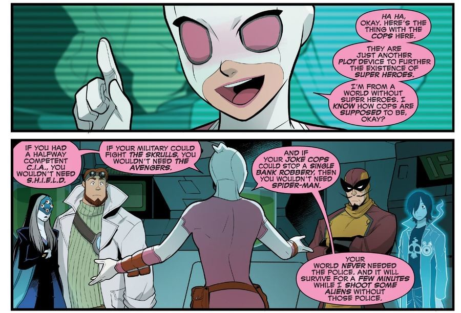 """Gwenpool explains Marvel cops. . IF YOU HAD A HALFWAY YOU WOULDN' T NEED Tal YOUR. MILITARY COULD FIGHT THE ! lla% l, YOU WOULDN' T NEED THE wow: lilili"""" Em sup"""