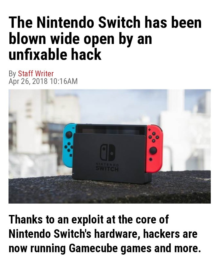 hackers voice I'm in. join list: VideoGameHumor (1700 subs)Mention Clicks: 567948Msgs Sent: 5351695Mention History. The Nintendo Switch has been blown wide open