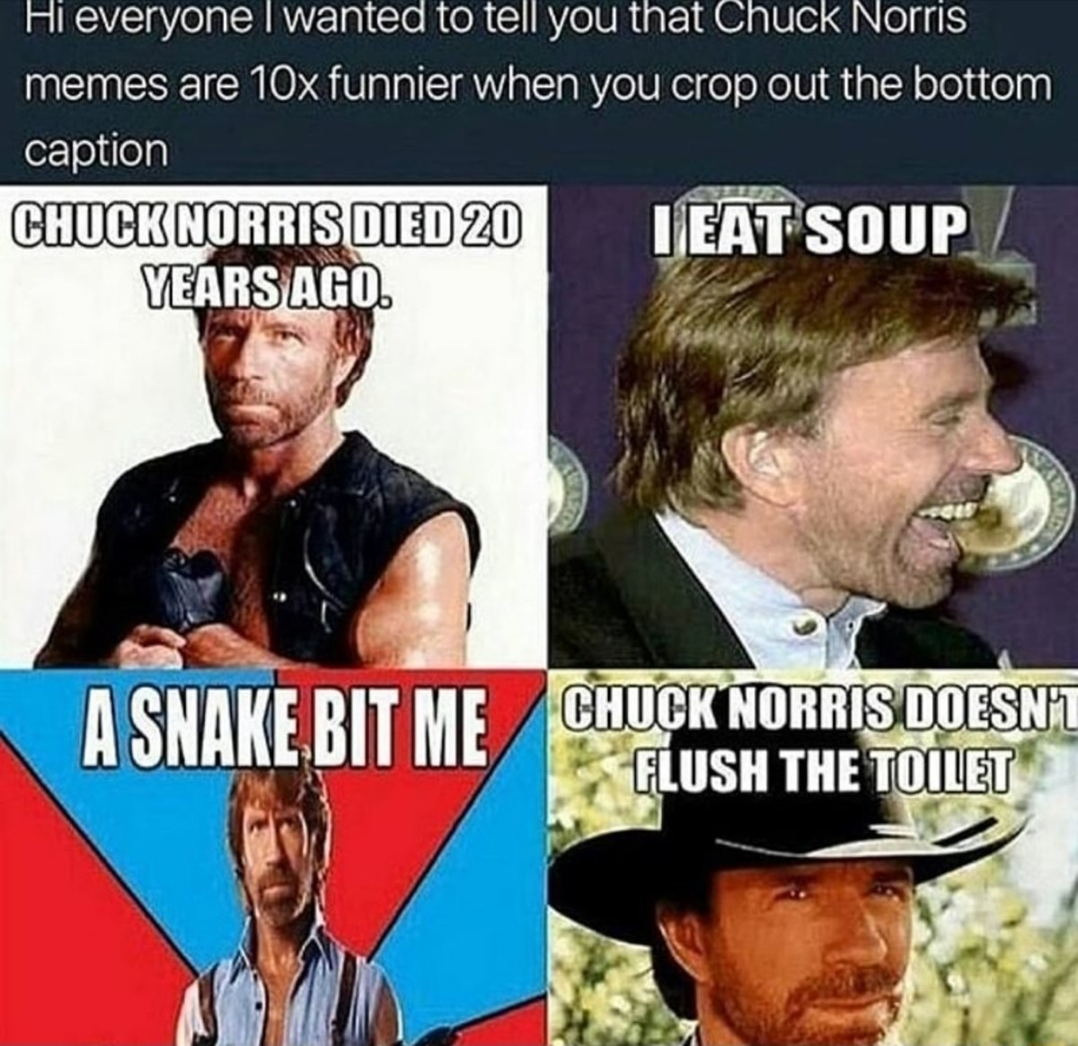 Half the chuck norris half the price. you bitches love chuck norris Right? .. I love you