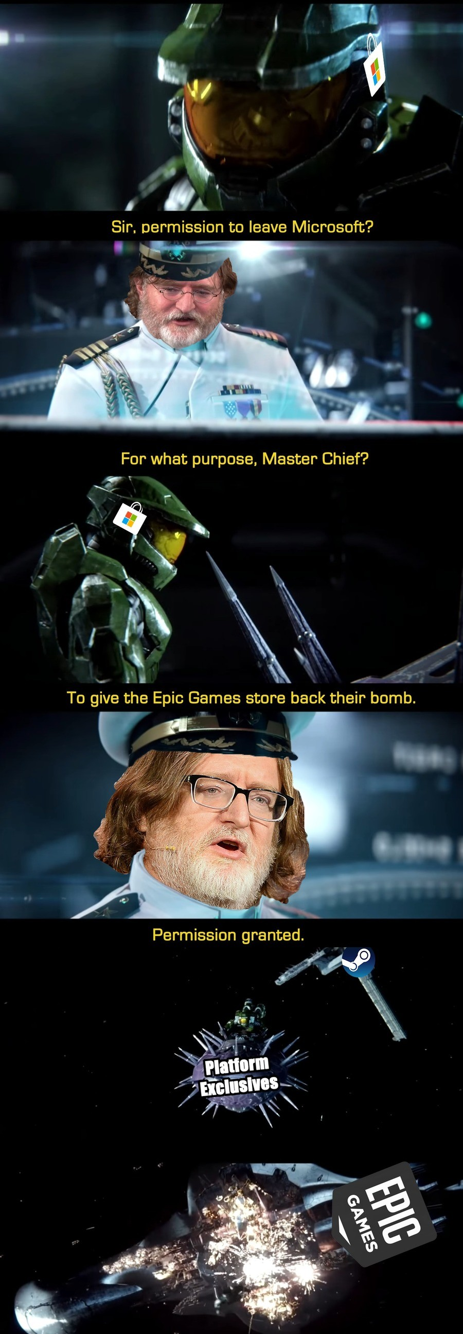 Halo Meme Renaissance. .. Laucher =/= platform tho. You need to buy a 300$+ Ps4 to play Bloodborne. You don't need to pay for a launcher. Compare apples with apples.
